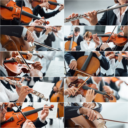 cellos: Classical music collage of pictures, professional musicians playing instruments portraits and hands close up, arts and entertainment concept
