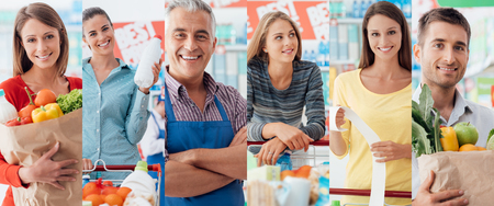 retail shopping: Smiling people at the store, customers doing grocery shopping and supermarket clerks, picture collage