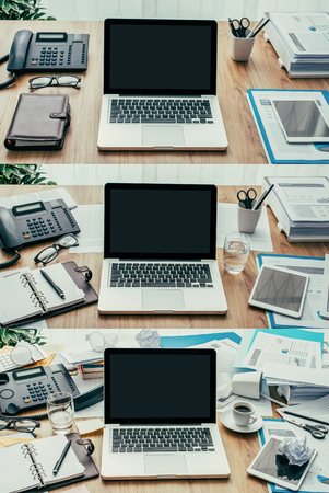 desk tidy: Set of business desktops and workspace types, from clean and organized to cluttered and messy, productivity and deadlines concept, point of view shot
