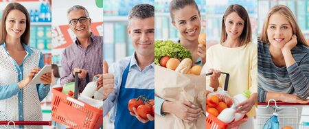 pessoas sorrindo para a loja, os clientes fazendo funcionários de compras de mercearia e supermercado, colagem de imagem