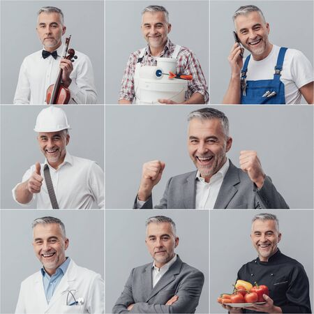 Man posing with different uniforms and expressions; photo collage Stock Photo