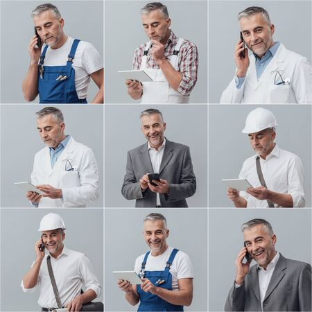 Man posing with different uniforms, phone calling and connecting with a tablet; professional job, technology and carreer concept, photo collage