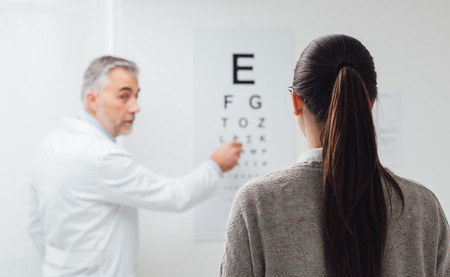 Woman reading the eye chart, the oculist is pointing at one letter and examing the patient, eye care concept