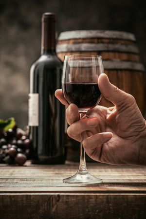 Senior man drinking a glass of expensive red wine in his cellar, wine bottle, grape and barrel on the background, wine tradition and culture concept