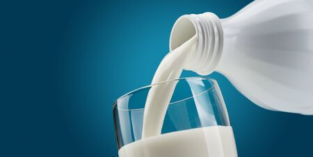 Pouring fresh milk from a bottle into a glass: dairy and nutrition