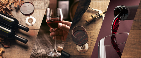 Wine tasting and winemaking photo collage with wine glasses and bottles