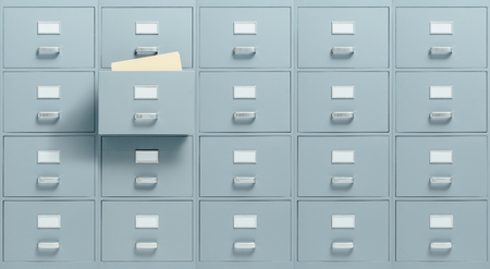 Wall mounted filing cabinets, a drawer with files inside is open, administration and business concept Stock Photo