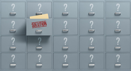 Filing cabinets containing different possibilities, only one drawer holds the solution: problem solving and solution finding concept Stock Photo