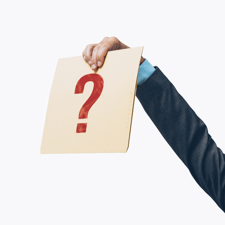 Businessman holding a file with a question mark on white background, business uncertainty and risks concept