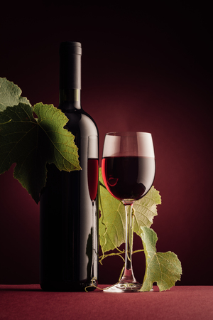 Red wine bottle, wineglass and vine branch still life