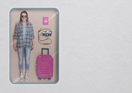 Female tourist realistic doll with toy see through packaging and accessories