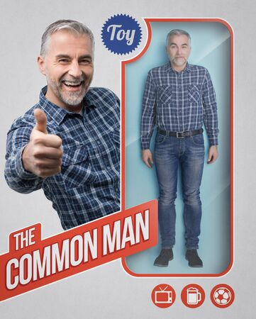 Lifelike common male doll and toy packaging with smiling male character giving a thumbs up Banque d'images