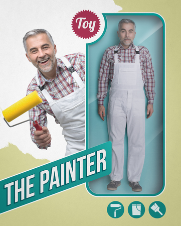Lifelike painter doll with see through toy packaging and smiling character holding a paint roller Banque d'images