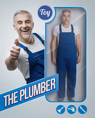 Realistic plumber and repairman doll with smiling character giving a thumbs up on the see through packaging