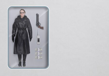 Female secret agent lifelike doll with toy see through packaging and accessories