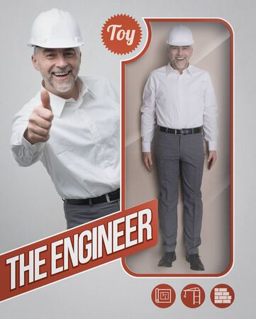 Lifelike engineer and architect doll with see through packaging and smiling character giving a thumbs up