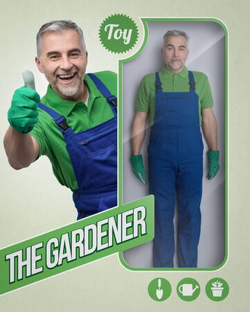 Lifelike male gardener doll and toy see through packaging with smiling character giving a thumbs up Banque d'images