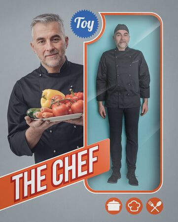Realistic chef human doll and toy see through packaging with smiling cook holding fresh vegetables