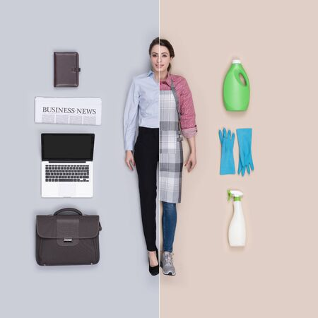 Lifelike female dolls comparison and accessories: corporate businesswoman and housewife