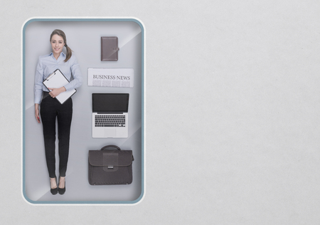Businesswoman lifelike doll with toy see through packaging and accessories set