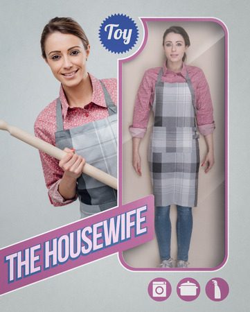 Housewife lifelike doll with toy see through packaging and smiling character holding a rolling pin