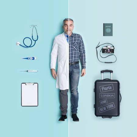 Lifelike male dolls comparison and accessories: doctor and traveler