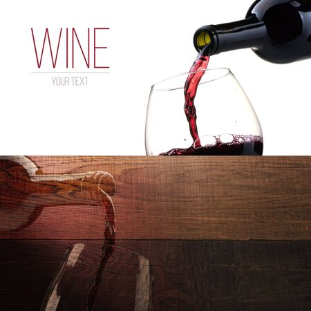 Excellent red wine tasting and celebration, banner set with copyspace Stock Photo