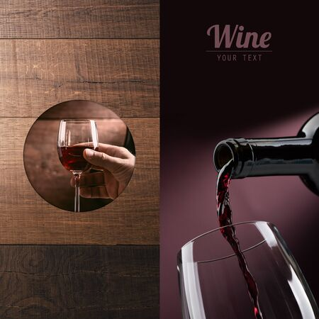 Wine tasting and winemaking poster set: hand holding a glass of wine and wine pouring into a glass