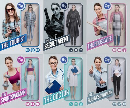 Lifelike female toy dolls collection and packaging with different outfits: tourist, secret agent, housewife, sportswoman, doctor and businesswoman Stock Photo