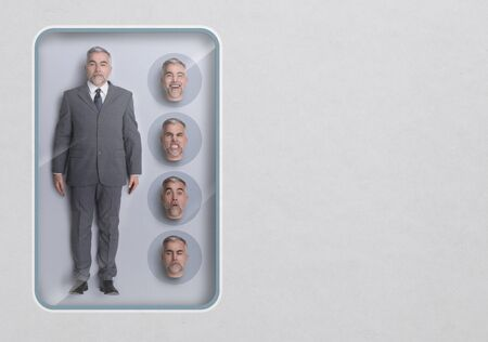 Business executive lifelike doll, see through toy packaging and interchangeable heads with different expressions