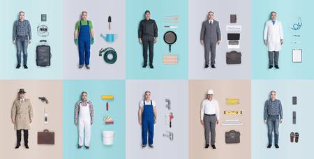 Levensechte mannelijke menselijke poppencollectie met verschillende outfits en banen: arts, zakenman, ingenieur, reparateur, schilder, tuinman, detective Stockfoto