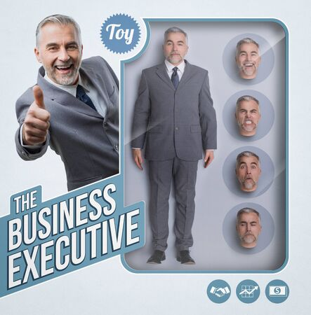 Business executive lifelike doll, see through toy packaging with smiling businessman and interchangeable heads with different expressions Stock Photo
