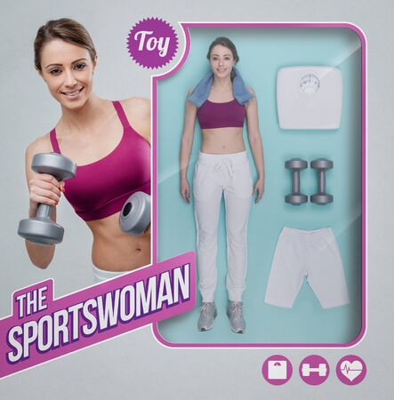 Sportswoman lifelike doll with toy see through packaging, accessories and smiling woman holding dumbbells