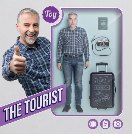 Tourist and traveler lifelike doll, accessories and see through toy packaging with smiling character giving a thumbs up