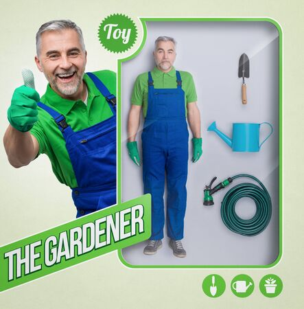 Lifelike male gardener doll with accessories and toy see through packaging with smiling character