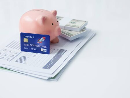 Piggy bank, credit card, cash money and financial report on a office desktop: savings, investments and bank deposit concept
