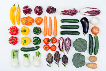 Fresh tasty seasonal vegetables on white background, healthy eating concept, flat lay Stock Photo