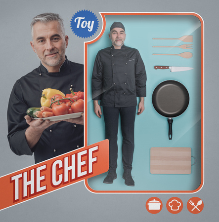 Realistic chef human doll, accessories and toy see through packaging with smiling cook holding vegetables