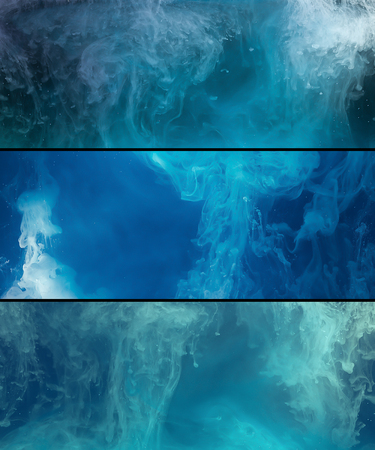 White paint spill flowing in blue water, abstract background, banner set