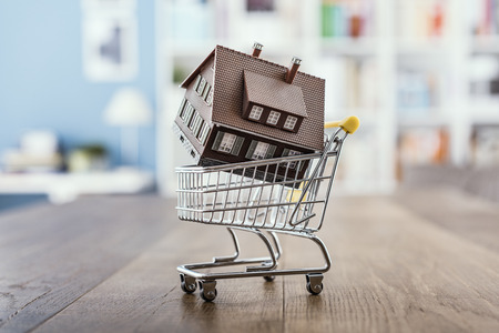 Model house in a miniature shopping cart: real estate, investments and home buying Stock Photo