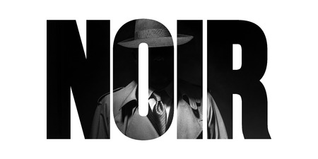 Noir film concept and vintage detective character: agent with trench coat and cut out text Imagens
