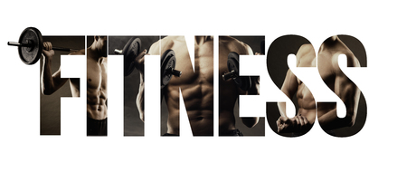 Fitness, healthy lifestyle and sport concept: man working out at the gym and cut out text Stock Photo
