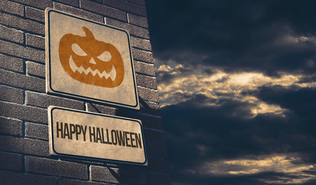 Happy halloween street sign with scary pumpkin and dark clouds: celebration and events concept