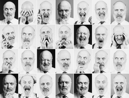 Collection of portraits of a mature business man with different expressions and moods, pictures mosaic