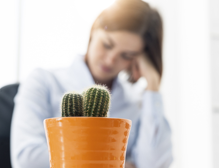 Tired businesswoman working in the office, she feels nervous and stressed, thorny cactus in the foreground Stock Photo