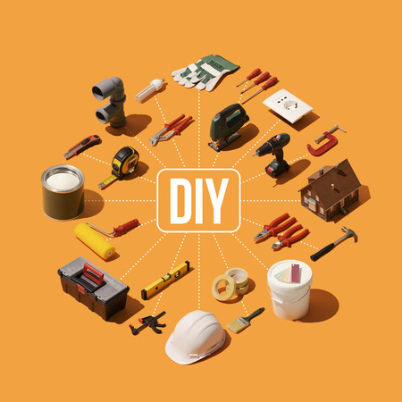 DIY, construction and home renovation concept infographic: isometric tools and equipment 免版税图像