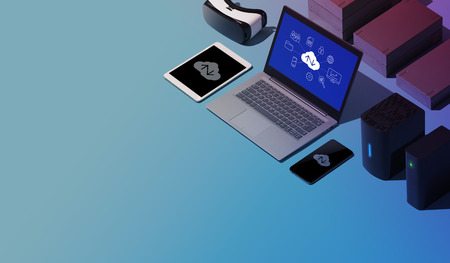 Cloud computing, data transmission, storage and backup concept: isometric computer, servers and hard disks, blank copy space Stock Photo