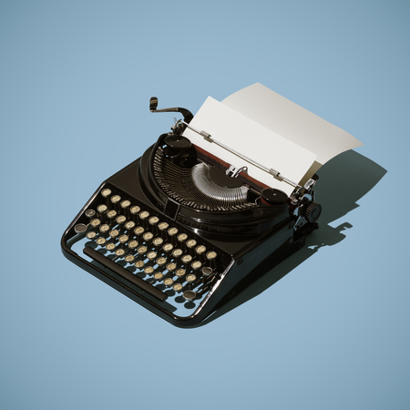 Professional vintage typewriter and blank sheet, storytelling and writing concept
