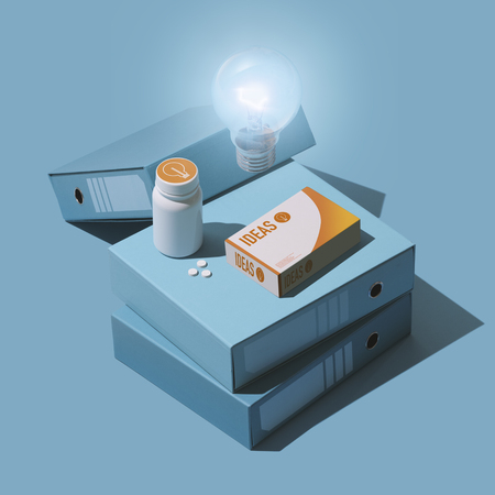 Brain booster supplement pills packaging: increase your creativity and have new ideas, isometric objects