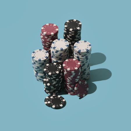 Piles of poker chips: casino, winning and jackpot concept